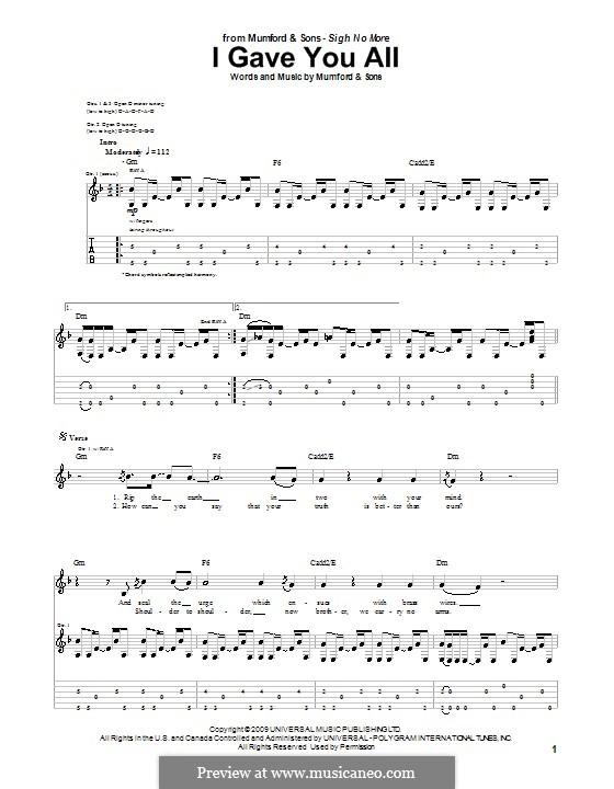 I Gave You All (Mumford & Sons): Für Gitarre mit Tab by Marcus Mumford