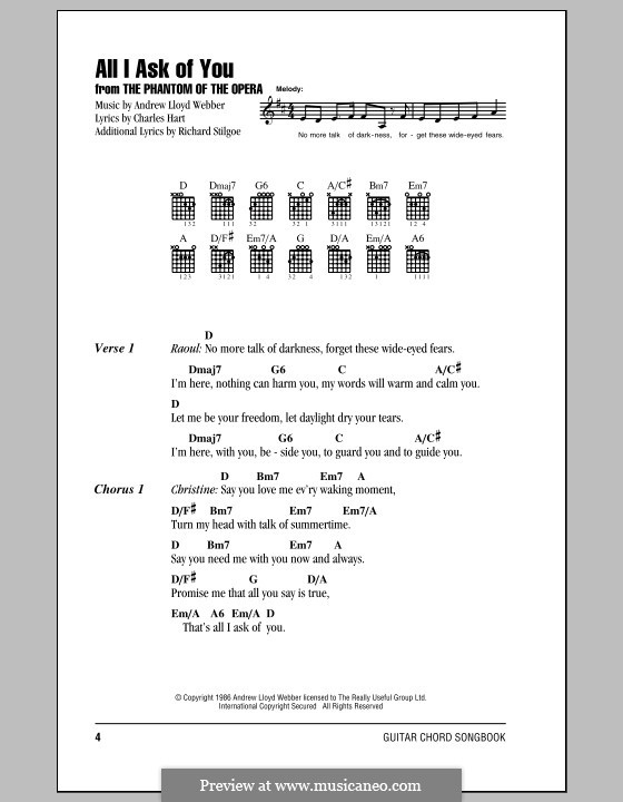 All I Ask of You: Texte und Akkorde by Andrew Lloyd Webber