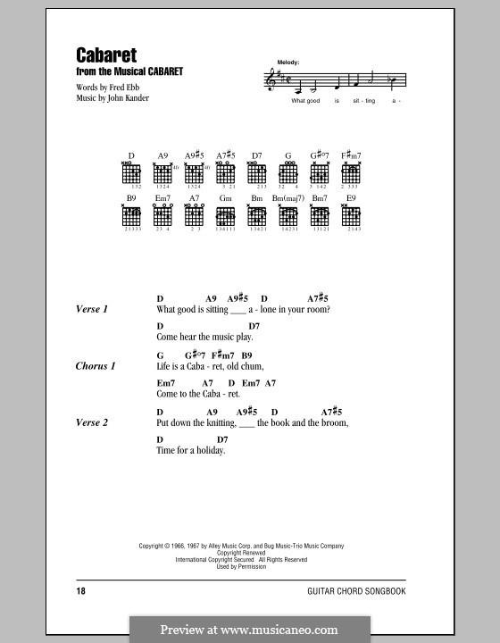 Cabaret (Liza Minnelli): Text und Akkorde by John Kander