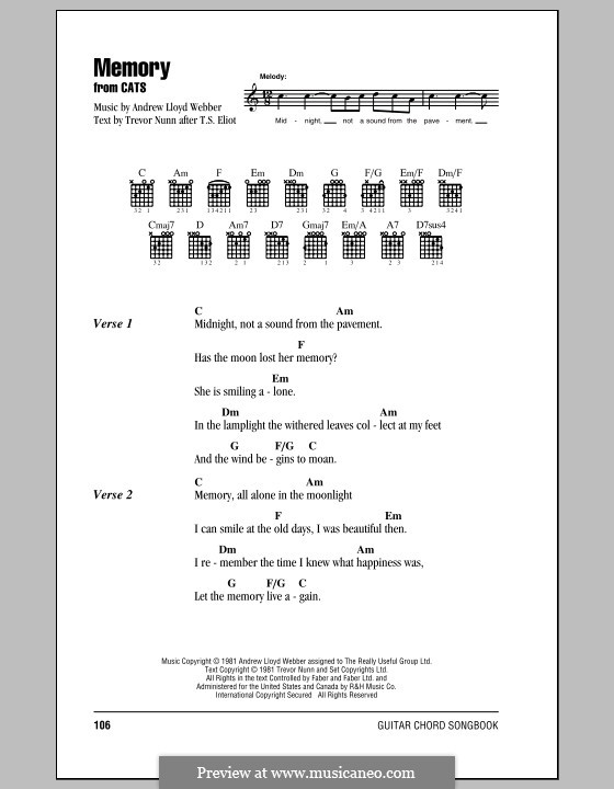 Memory (from Cats): Text und Akkorde by Andrew Lloyd Webber