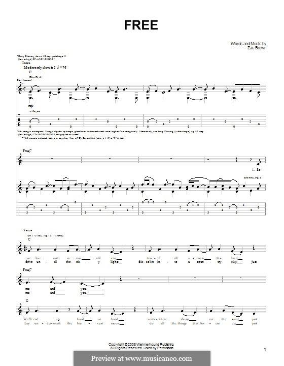 Free (Zac Brown Band): Für Gitarre (Sehr leichte Fassung) by Zac Brown