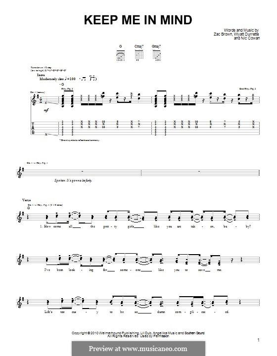 Keep Me in Mind (Zac Brown Band): Für Gitarre (Sehr leichte Fassung) by Nic Cowan, Wyatt Durrette, Zac Brown