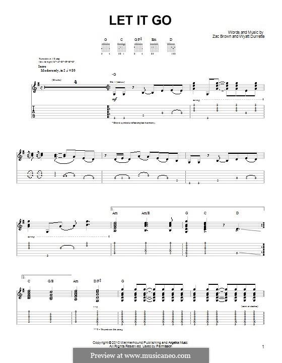 Let It Go (Zac Brown Band): Für Gitarre (Sehr leichte Fassung) by Wyatt Durrette, Zac Brown