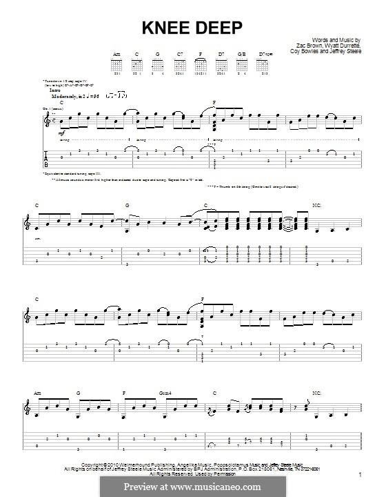 Knee Deep (Zac Brown Band): Für Gitarre (Sehr leichte Fassung) by Coy Bowles, Jeffrey Steele, Wyatt Durrette, Zac Brown
