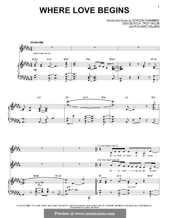 Where Love Begins (Patti LaBelle with Yolanda Adams): Für Stimme und Klavier by Denise Rich, Gordon Chambers, Richard Williams, Troy Taylor