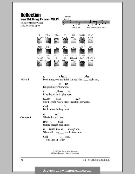 Reflection (from Disney's Mulan): Text und Akkorde by Matthew Wilder