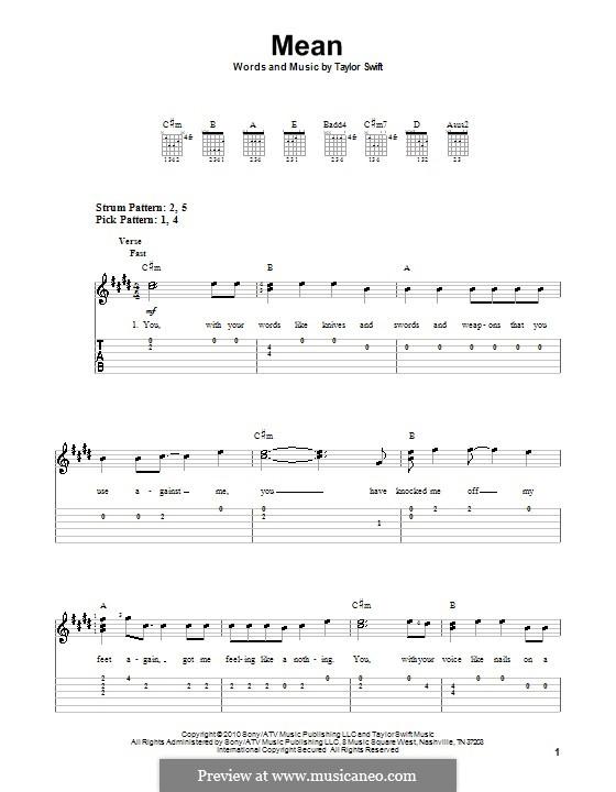 Mean: Für Gitarre (Sehr leichte Fassung) by Taylor Swift