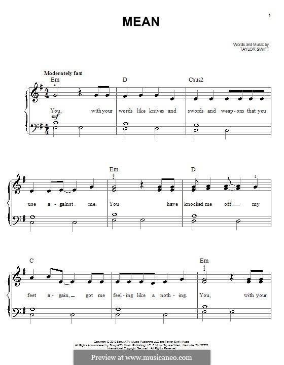 Mean: Für Klavier, leicht by Taylor Swift