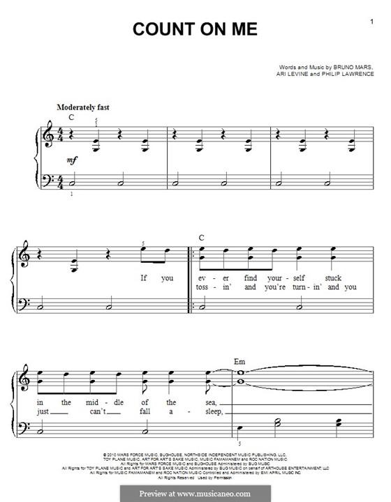 Count on Me: Für Klavier, leicht by Ari Levine, Bruno Mars, Philip Lawrence