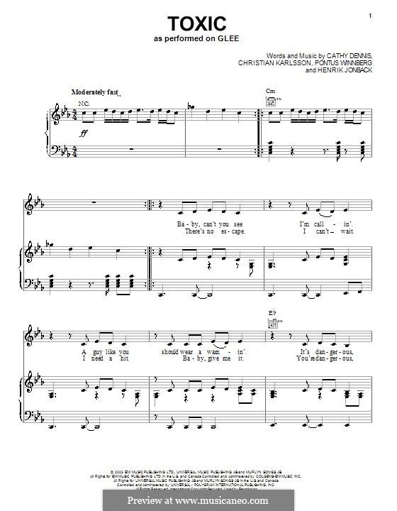 Toxic: Für Stimme mit Klavier oder Gitarre (Glee Cast) by Cathy Dennis, Christian Karlsson, Henrik Jonback, Pontus Winnberg
