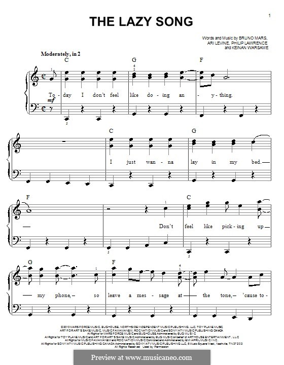 The Lazy Song: Für Klavier, leicht by Ari Levine, Keinan Abdi Warsame, Bruno Mars, Philip Lawrence