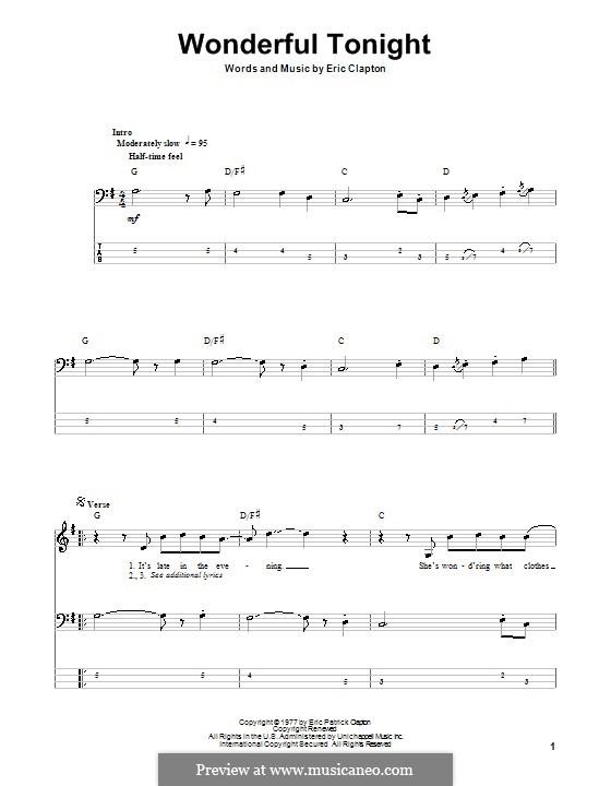 Wonderful Tonight: Für Bassgitarre mit Tabulatur by Eric Clapton