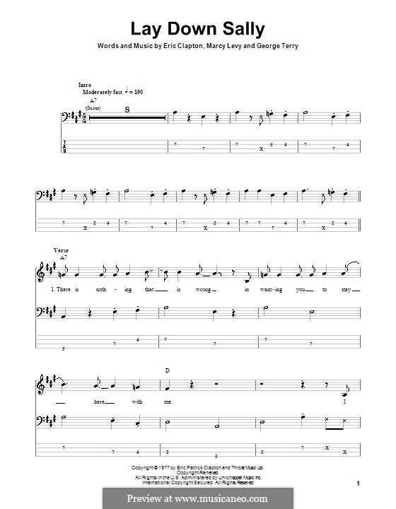 Lay Down Sally: Für Bassgitarre mit Tabulatur by George Terry, Marcy Levy