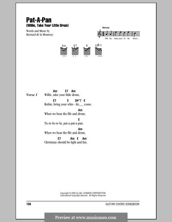 Pat-a-Pan (Willie, Take Your Little Drum): Text und Akkorde by Bernard de la Monnoye