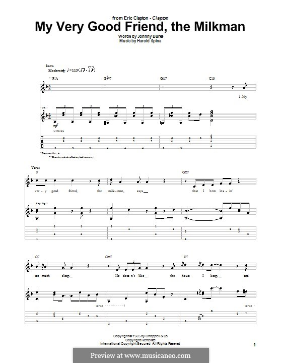 My Very Good Friend the Milkman: Für Gitarre mit Tabulatur by Harold Spina