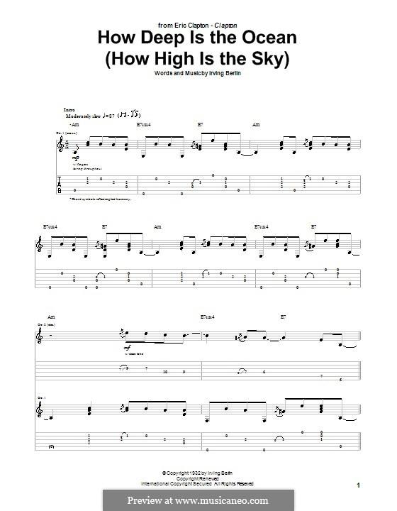 How Deep is the Ocean (How High is the Sky): Für Gitarre mit Tabulatur by Irving Berlin