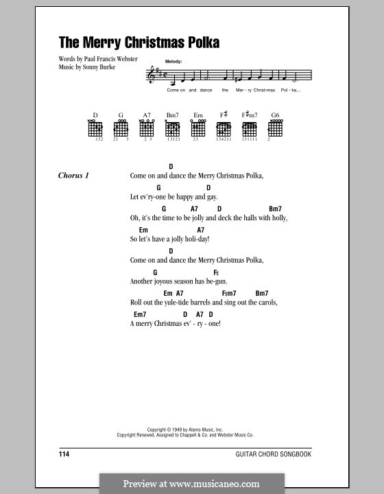 The Merry Christmas Polka: Text und Akkorde by Sonny Burke
