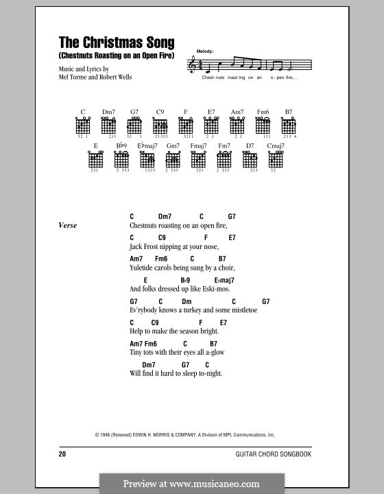 The Christmas Song (Chestnuts Roasting on an Open Fire): Text und Akkorde by Mel Tormé, Robert Wells