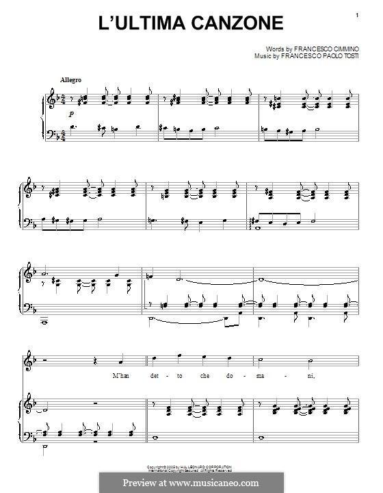 L'ultima canzone: Für Klavier (Andrea Bocelli) by Francesco Paolo Tosti