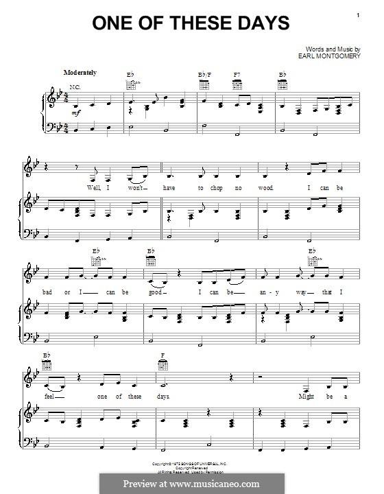 One of These Days (Emmylou Harris): Für Stimme und Klavier (oder Gitarre) by Earl Montgomery