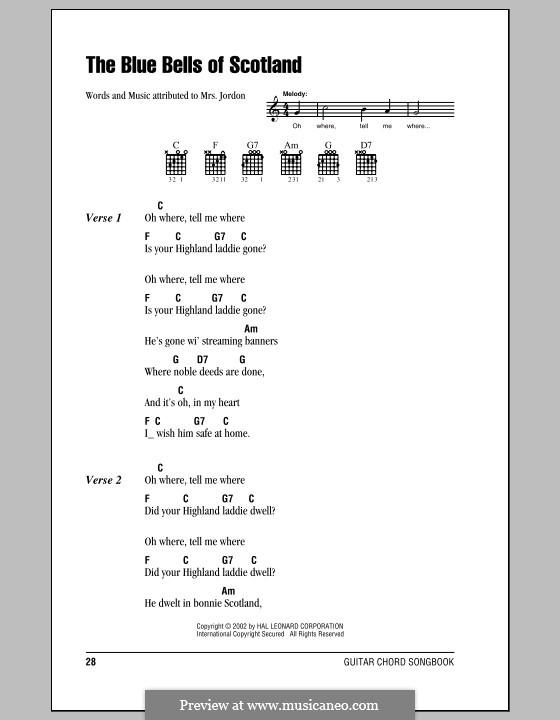Blue Bells of Scotland: Text und Akkorde by folklore