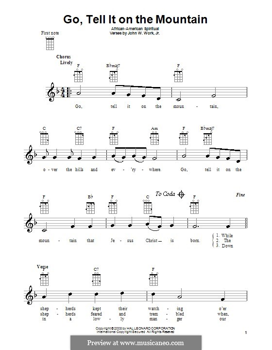 Go, Tell it on the Mountain (Printable Scores): Für Ukulele by folklore