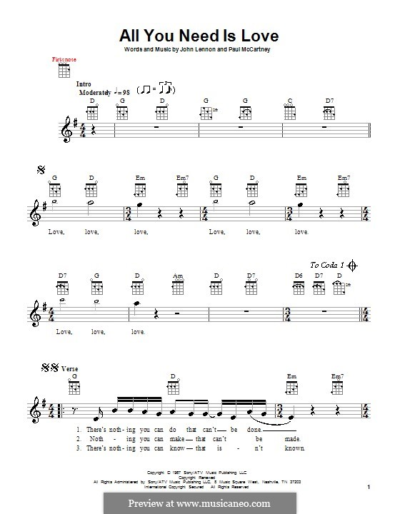 All You Need Is Love (The Beatles): Für Ukulele by John Lennon, Paul McCartney