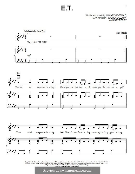 E.T. (Katy Perry): Für Stimme und Klavier (oder Gitarre) by Joshua Coleman, Lukas Gottwald, Max Martin