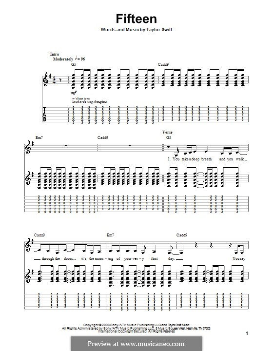 Fifteen: Für Gitarre mit Tabulatur by Taylor Swift