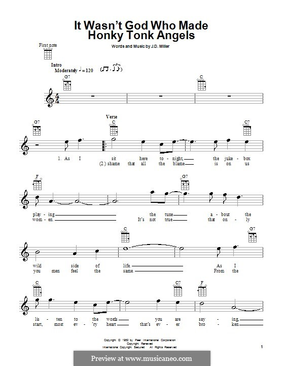 It Wasn't God Who Made Honky Tonk Angels (Patsy Cline): Für Ukulele by J.D. Miller