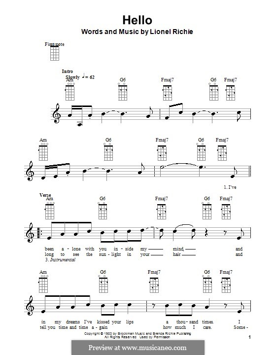Hello: Für Ukulele by Lionel Richie