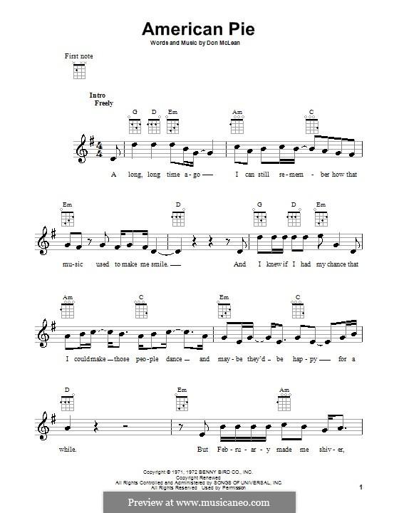 American Pie (Madonna): Für Ukulele by Don McLean