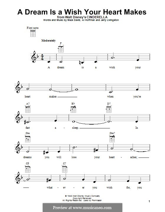 A Dream Is a Wish Your Heart Makes (from Disney's Cinderella): Für Ukulele by Al Hoffman, Jerry Livingston, Mack David