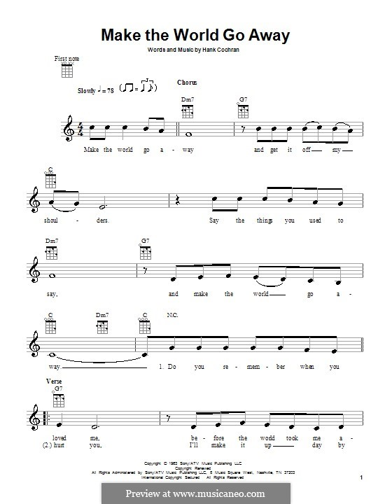 Make the World Go Away (Eddy Arnold): Für Ukulele by Hank Cochran