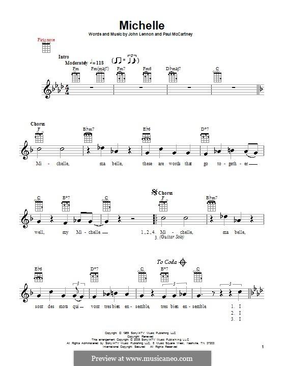 Michelle (The Beatles), for One Instrument: Für Ukulele by John Lennon, Paul McCartney