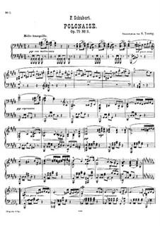 Vier Polonäsen für Klavier, vierhandig, D.599 Op.75: Polonäse Nr.3 in cis-Moll, für Klavier by Franz Schubert