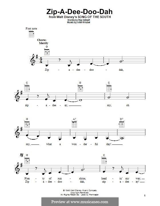 Zip-A-Dee-Doo-Dah: Für Ukulele by Allie Wrubel