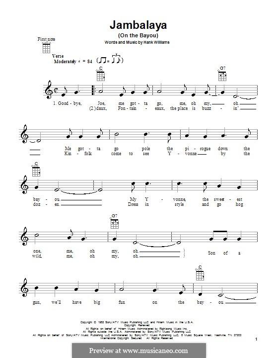 Jambalaya (On the Bayou): Für Ukulele by Hank Williams