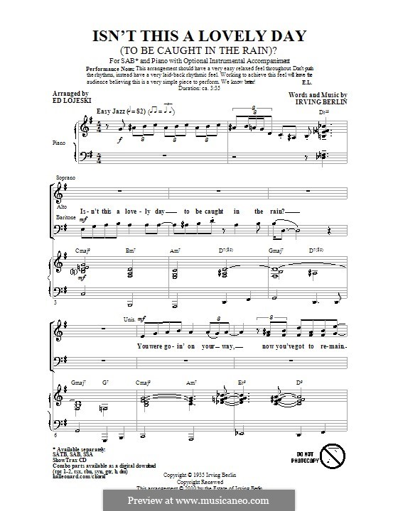 Isn't This a Lovely Day (To Be Caught in the Rain?): Choral SAB by Irving Berlin