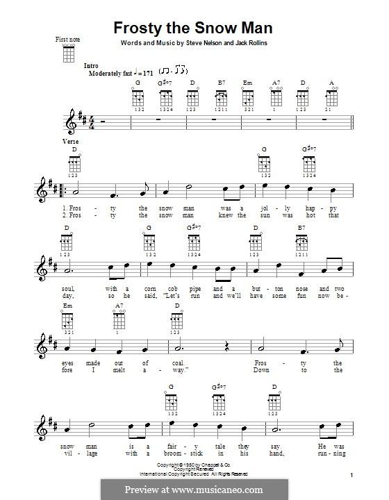 Frosty the Snow Man: For ukulele (Gene Autry) by Jack Rollins, Steve Nelson