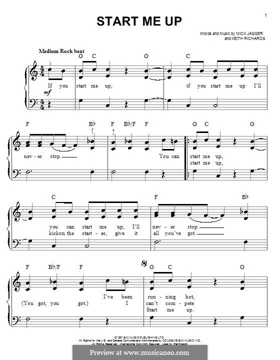 Start Me Up (The Rolling Stones): Für Klavier, leicht by Keith Richards, Mick Jagger