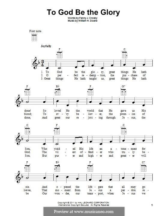 To God be the Glory: Für Ukulele by William Howard Doane