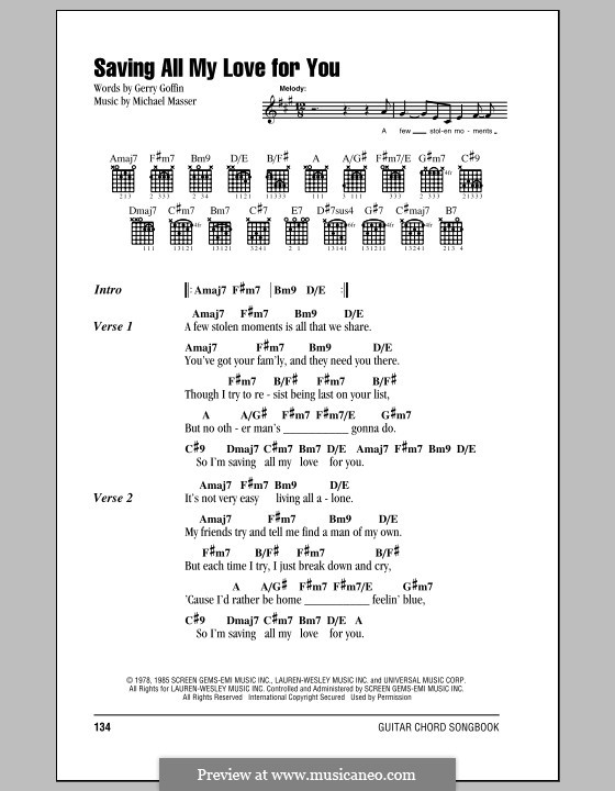 Saving All My Love for You (Whitney Houston): Text und Akkorde by Gerry Goffin, Michael Masser