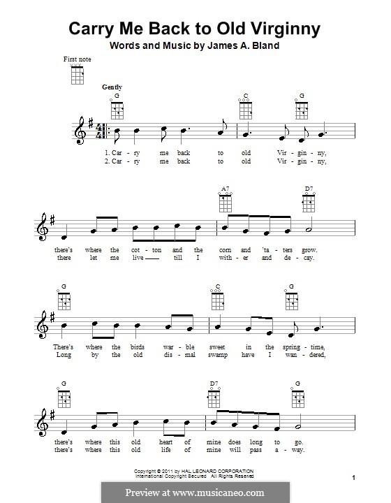Carry Me Back to Old Virginny: Für Ukulele by James A. Bland