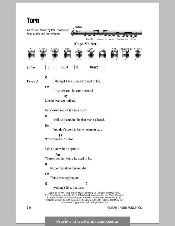 Torn (Natalie Imbruglia): Text und Akkorde by Anne Preven, Phil Thornalley, Scott Cutler