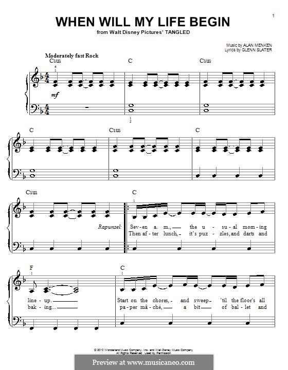 When Will My Life Begin: Einfache Noten für Klavier by Alan Menken