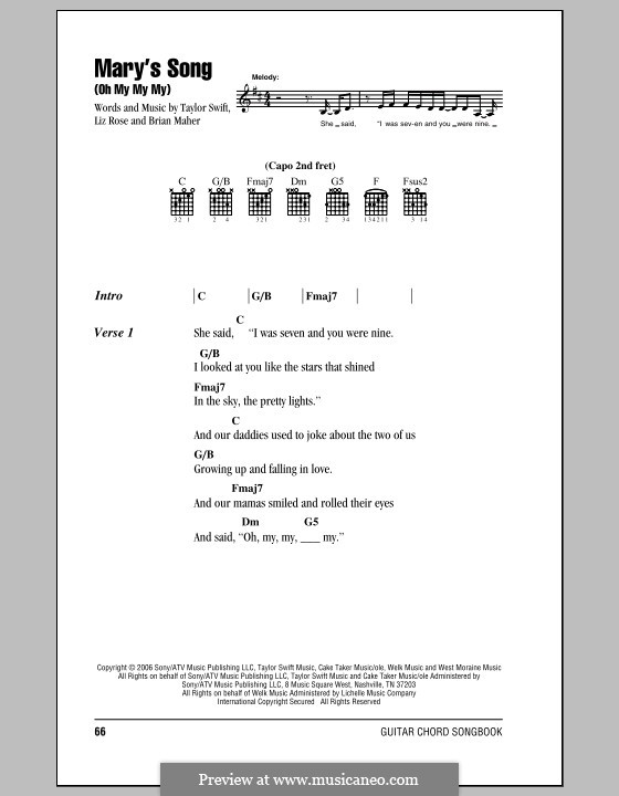 Mary's Song (Oh My My My): Lyrics and chords with chord boxes (Taylor Swift) by Brian Maher, Liz Rose