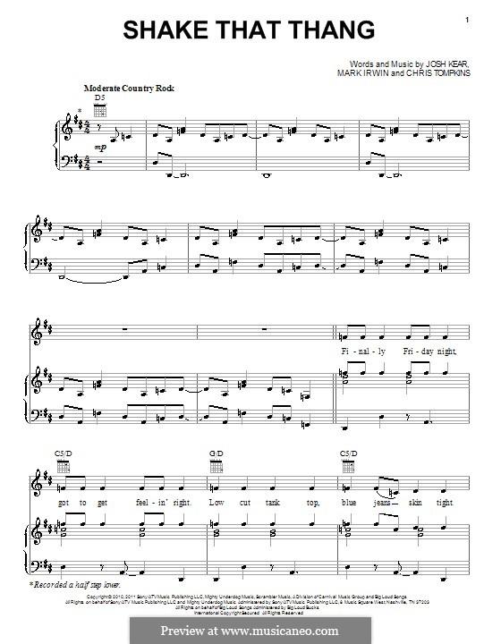 Shake That Thang (Gwyneth Paltrow): Für Stimme mit Klavier oder Gitarre by Chris Tompkins, Josh Kear, Mark Irwin
