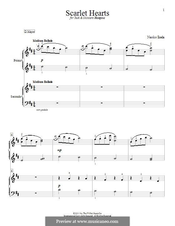 Scarlet Hearts: Für Klavier, vierhändig by Naoko Ikeda