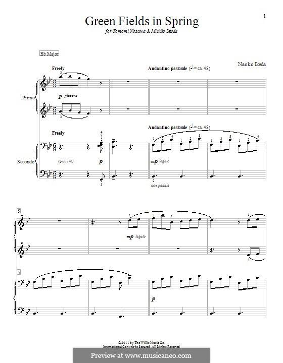 Green Fields in Spring: Für Klavier, vierhändig by Naoko Ikeda